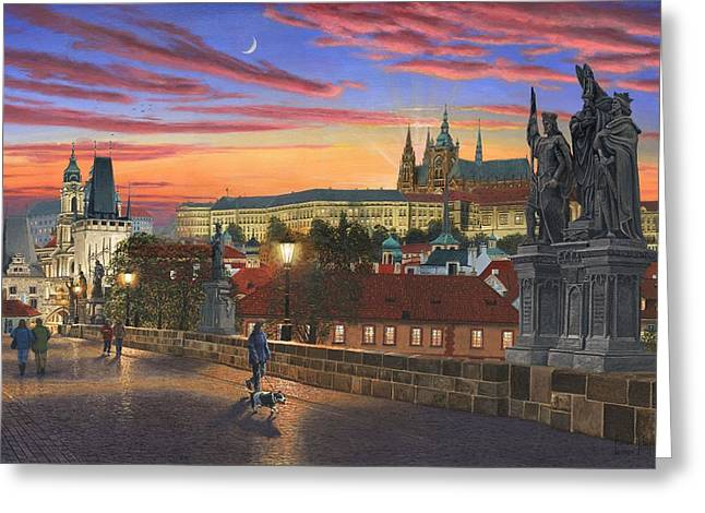 Charles Bridge Paintings Greeting Cards - Prague at Dusk Greeting Card by Richard Harpum