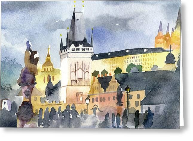 Prague At Night Greeting Card by Lydia Irving