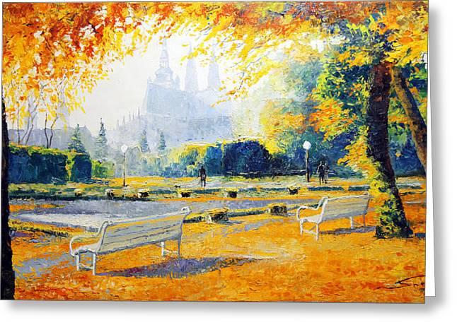 Prague Autumn in the Kralovska Zahrada Greeting Card by Yuriy Shevchuk