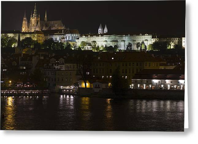 Prague By Night Greeting Card by Chris Smith