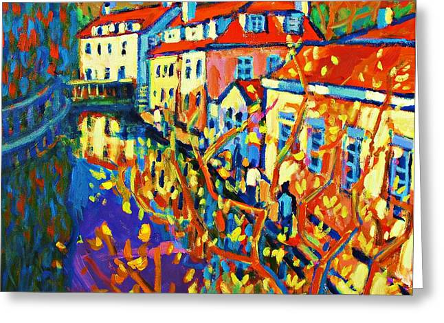 Prague Paintings Greeting Cards - Prague Canal Greeting Card by Brian Simons