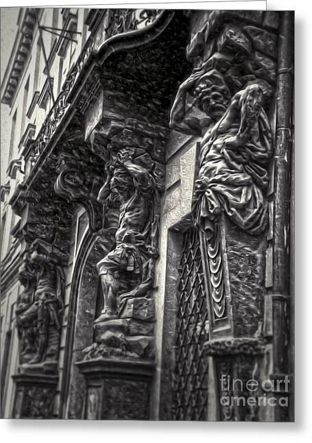Prague Caryatids Greeting Card by Gregory Dyer