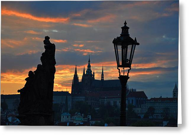 Czech Pyrography Greeting Cards - Prague Castle after Sunset Greeting Card by Steffen Schumann