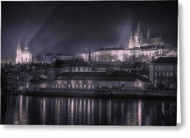 Winter Night Greeting Cards - Prague Castle and St Nicholas Greeting Card by Joan Carroll