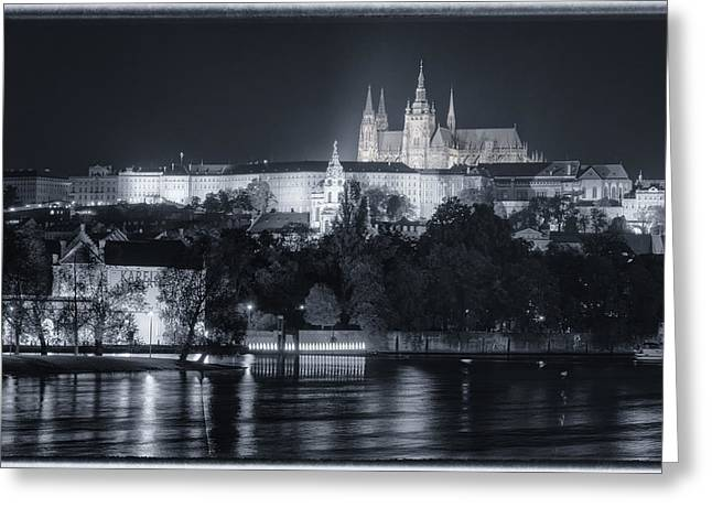 Prague Castle Greeting Cards - Prague Castle at Night Greeting Card by Joan Carroll