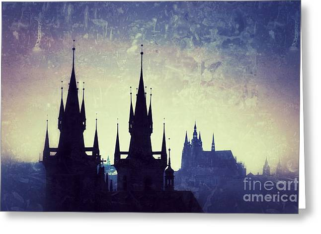 Mystical Landscape Greeting Cards - Prague castle Greeting Card by Konstantin Sutyagin