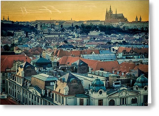 Prague Castle Sunset Greeting Card by Joan Carroll