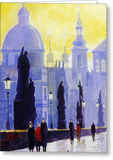 Charles Bridge Paintings Greeting Cards - Prague Charles Bridge 03 Greeting Card by Yuriy  Shevchuk
