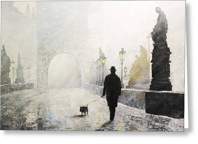Charles Bridge Paintings Greeting Cards - Prague Charles Bridge Morning Walk 01 Greeting Card by Yuriy Shevchuk