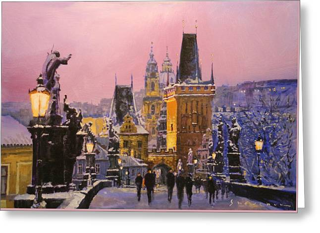 Evening Lights Paintings Greeting Cards - Prague Charles Bridge  Winter Evening Greeting Card by Yuriy Shevchuk