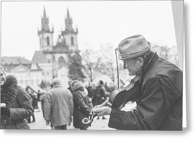 Violin Greeting Cards - Prague Greeting Card by Cory Dewald