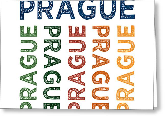 Prague Cute Colorful Greeting Card by Flo Karp