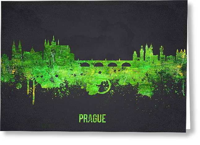 Lennon Mixed Media Greeting Cards - Prague Czech Republic Greeting Card by Aged Pixel
