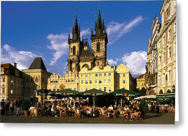 Market Square Greeting Cards - Prague Czech Republic Greeting Card by Panoramic Images