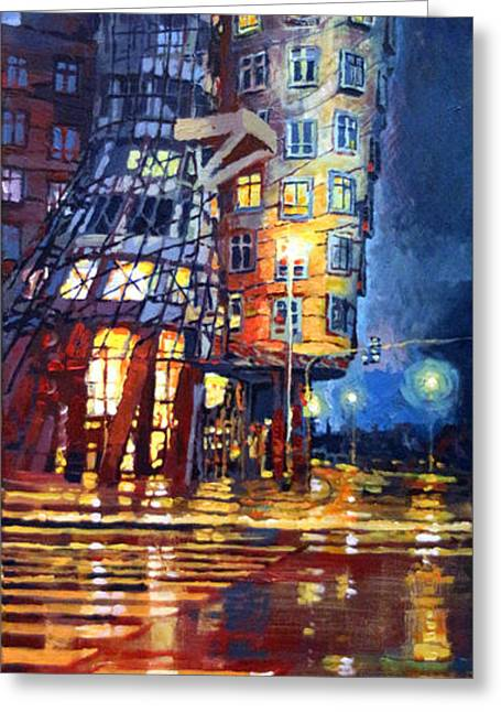 Streetscape Paintings Greeting Cards - Prague Dancing House  Greeting Card by Yuriy Shevchuk