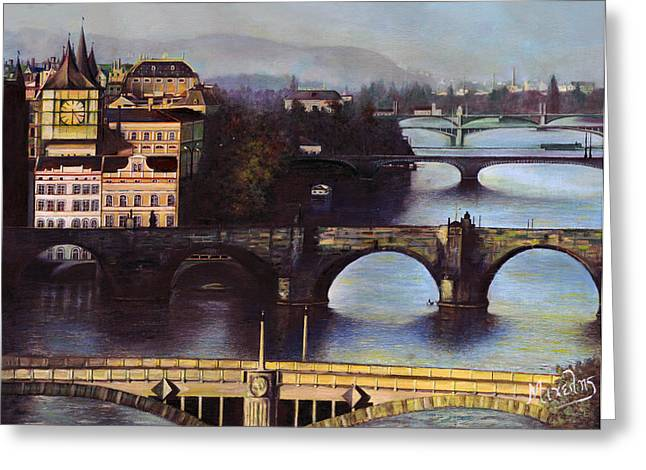 Prague Paintings Greeting Cards - Prague Greeting Card by Dimitrios Michelis