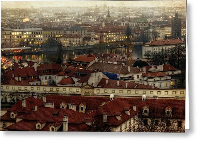 Praga Greeting Cards - Prague Dusk Greeting Card by Joan Carroll