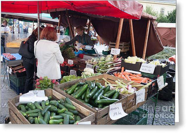 Fresh Food Greeting Cards - Prague Farmers Market Greeting Card by Thomas Marchessault