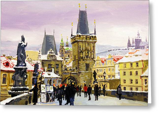 Charles Bridge Paintings Greeting Cards - Prague Gharles Bridge Winter Greeting Card by Yuriy Shevchuk