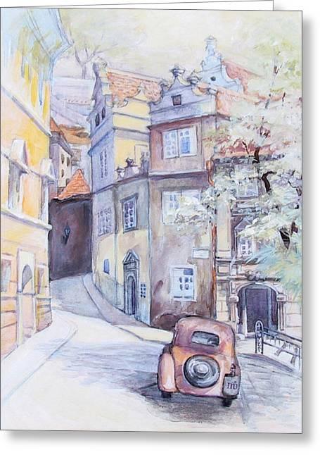 Prague Paintings Greeting Cards - Prague Golden Well Lane Greeting Card by Marina Gnetetsky