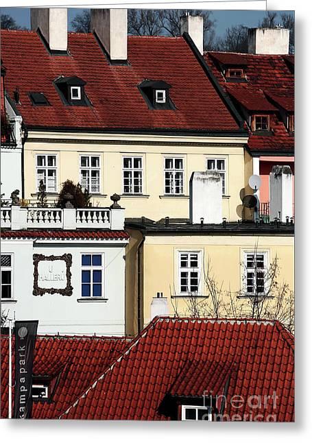 Prague Houses Greeting Card by John Rizzuto