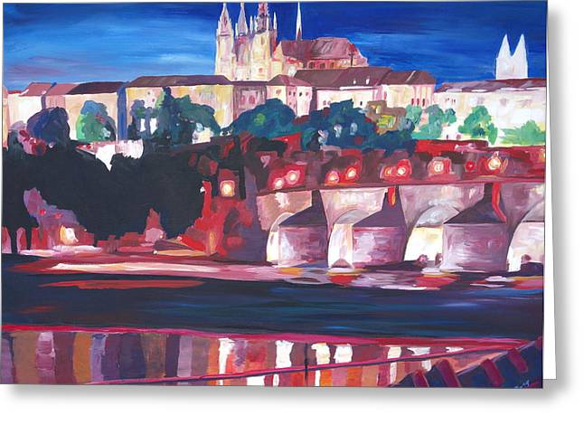 Prague - Hradschin With Charles Bridge Greeting Card by M Bleichner