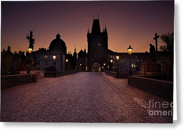 Czechia Greeting Cards - Charles Bridge in Prague in the sunrise Greeting Card by Jaroslaw Blaminsky