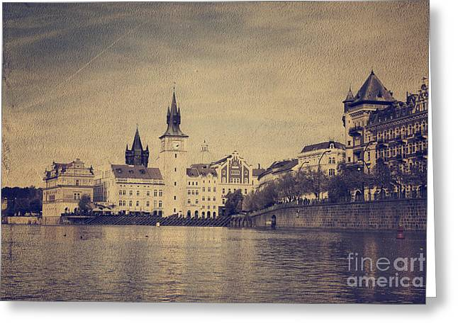 Charles River Pyrography Greeting Cards - Prague Greeting Card by Jelena Jovanovic