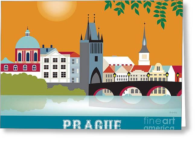 Vltava Digital Greeting Cards - Prague Greeting Card by Karen Young