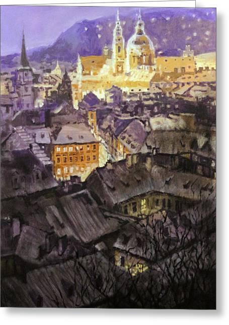 Prague Paintings Greeting Cards - Prague Mala Strana  Night Light  Greeting Card by Yuriy Shevchuk