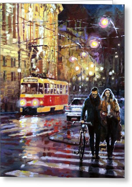 Prague Masarykovo Nabrezi Evening Walk Greeting Card by Yuriy Shevchuk