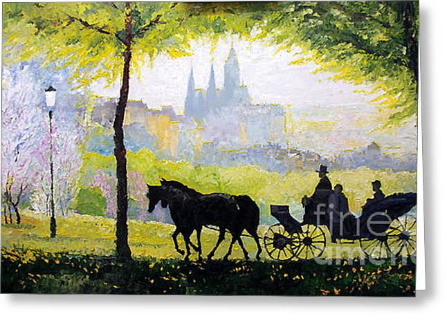 Midday Paintings Greeting Cards - Prague Midday Walk in the Petrin Gardens Greeting Card by Yuriy Shevchuk