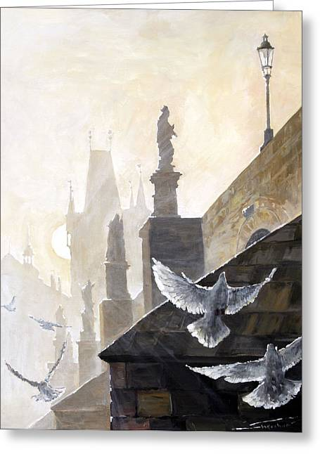 Doves Paintings Greeting Cards - Prague Morning on the Charles Bridge  Greeting Card by Yuriy Shevchuk
