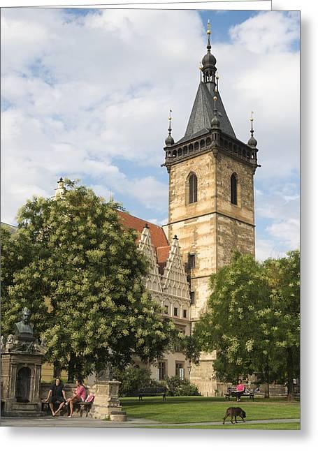 Czech Republik Greeting Cards - Prague New Town Hall Greeting Card by Matthias Hauser