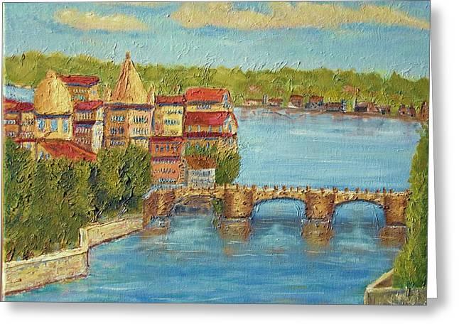 Prague Paintings Greeting Cards - Prague Old Bridge Greeting Card by Michael Brown