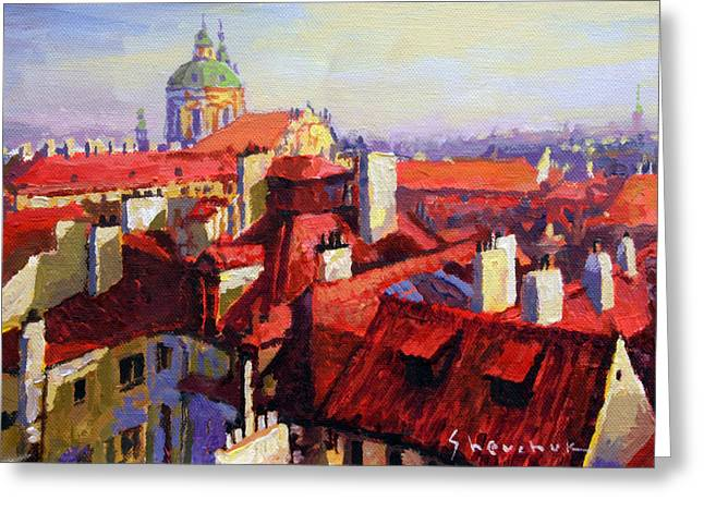 Red Buildings Greeting Cards - Prague Old Roofs 04 Greeting Card by Yuriy Shevchuk
