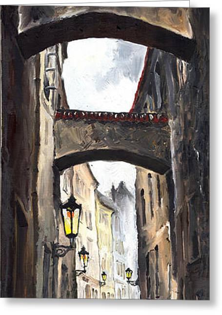 Prague Paintings Greeting Cards - Prague Old Street 02 Greeting Card by Yuriy  Shevchuk