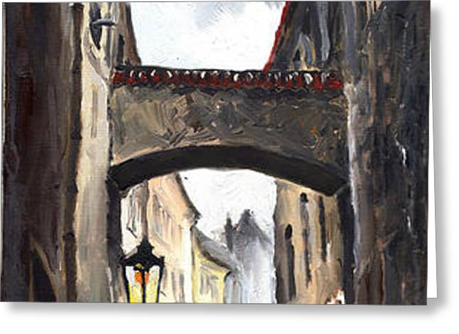 Prague Old Street 02 Greeting Card by Yuriy  Shevchuk
