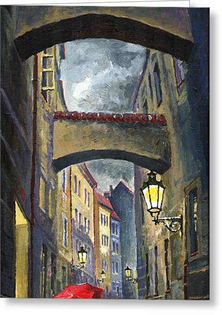 Realism Greeting Cards - Prague Old Street Love Story Greeting Card by Yuriy  Shevchuk