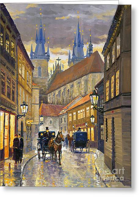 Cabs Greeting Cards - Prague Old Street Stupartska Greeting Card by Yuriy Shevchuk