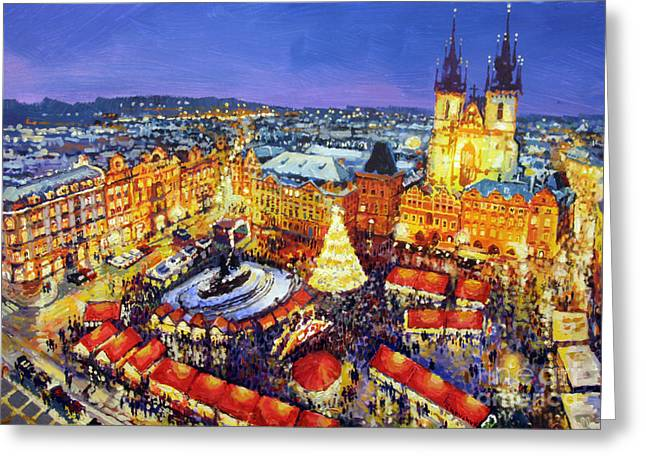Streetscape Paintings Greeting Cards - Prague Old Town Square Christmas Market 2014 Greeting Card by Yuriy Shevchuk