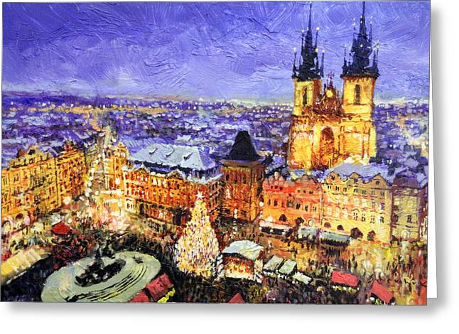 Market Square Greeting Cards - Prague Old Town Square Christmas market Greeting Card by Yuriy Shevchuk