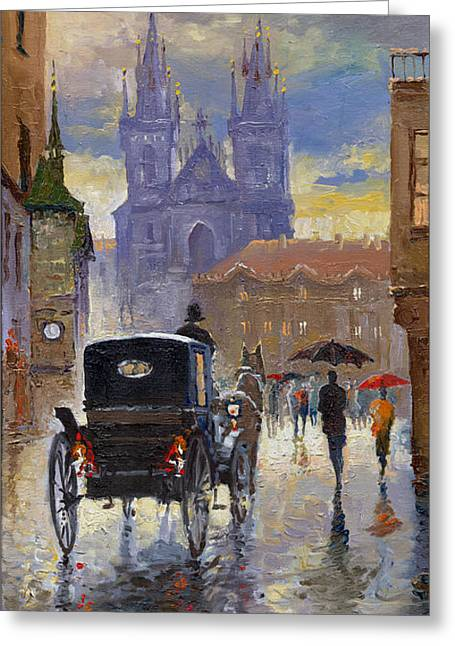 Cabs Greeting Cards - Prague Old Town Square Old Cab Greeting Card by Yuriy  Shevchuk