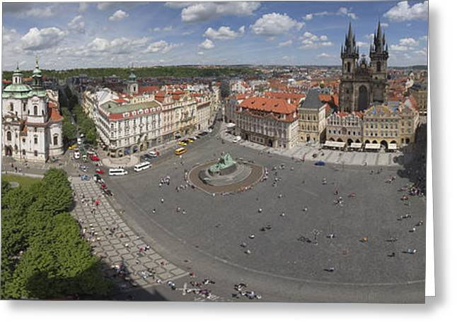 Nicholas Greeting Cards - Prague Old Town Square panorama Greeting Card by Bart De Rijk