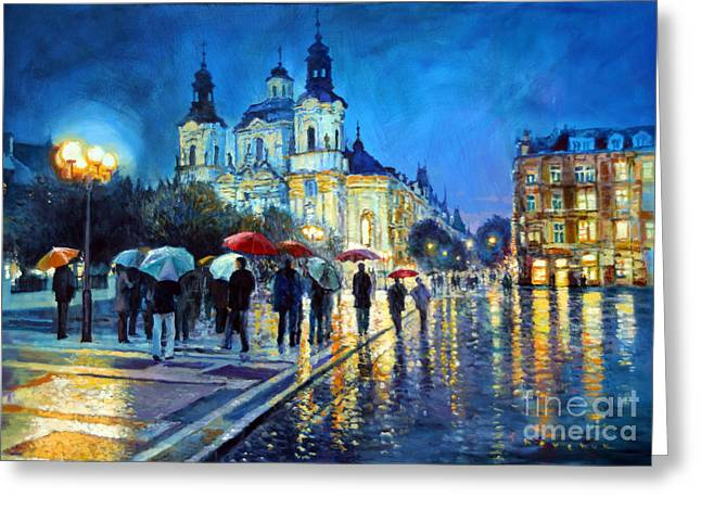 Streetscape Paintings Greeting Cards - Prague Old Town Square  view of street Parizska and St.Nicolas church Greeting Card by Yuriy Shevchuk