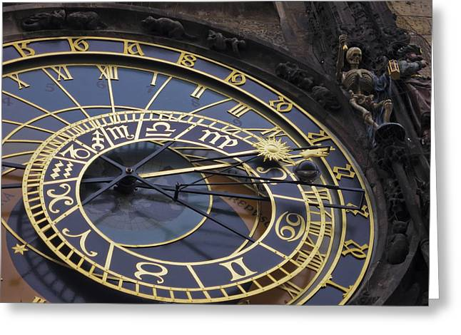 Lunar Greeting Cards - Prague Orloj Greeting Card by Adam Romanowicz