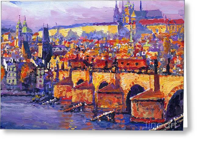 Europe Paintings Greeting Cards - Prague Panorama Charles Bridge 06 Greeting Card by Yuriy Shevchuk