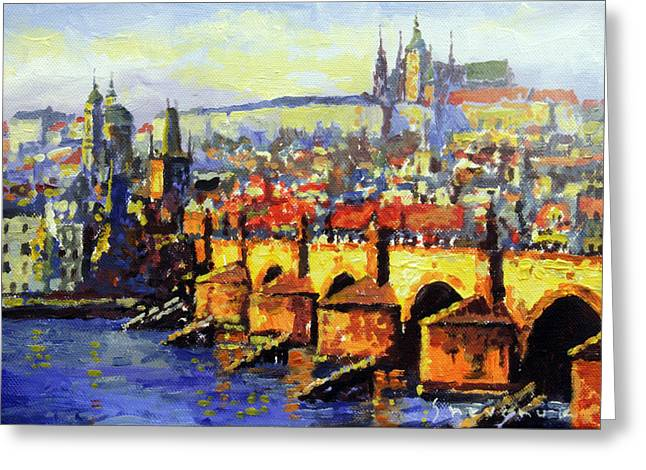 Charles Bridge Paintings Greeting Cards - Prague Panorama Charles Bridge Greeting Card by Yuriy Shevchuk