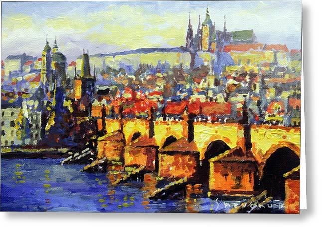 Prague Panorama Charles Bridge Greeting Card by Yuriy Shevchuk