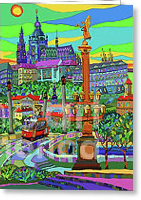 Buildings Mixed Media Greeting Cards - Prague Panorama with Manesuv Bridge Greeting Card by Yuriy  Shevchuk